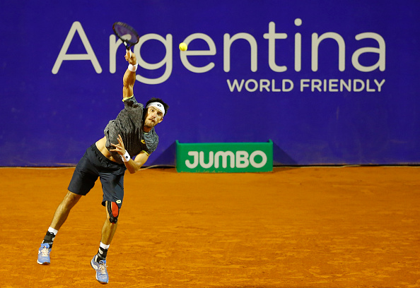 Leonardo Mayer of Argentina serves during a first round match between Leonardo Mayer of Argentina and Gastao Elias of Portugal as part of ATP Argentina Open at Buenos Aires Lawn Tennis Club on February 13, 2017 in Buenos Aires, Argentina. (Gabriel Rossi/LatinContent/Getty Images)