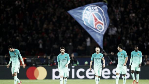 Imagen de los jugadores del Barça en el Parc des Princes. | Foto: UEFA