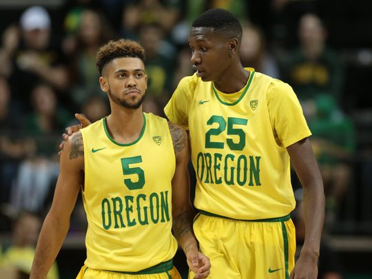 Tyler Dorsey (left) and Chris Boucher (right) are key to Oregon's Tournament success (Scott Olmos/USA TODAY Sports)