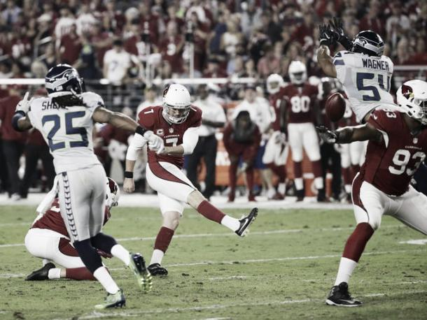 Chandler Catanzaro field goal attempt was blocked by Seattle's Bobby Wagner. https://usa.vavel.com/tag/seattle-seahawks (source: Rob Schumacher/azcentral sports