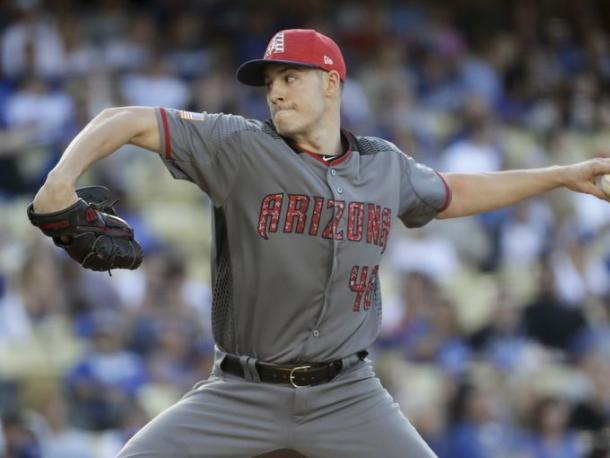 Arizona Diamondbacks starting pitcher Patrick Corbin throws against the Los Angeles Dodgers, Tuesday, July 4, 2017. |Source: Chris Carlson/AP Photo|