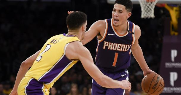 Phoenix Suns guard Devin Booker (1) handles the ball defended by Los Angeles Lakers guard Lonzo Ball (2) during the fourth quarter at Staples Center. |Kelvin Kuo-USA TODAY Sports|