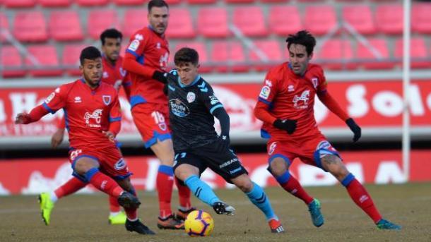 Los numantinos en su último partido frente al Lugo   Fuente: La Liga