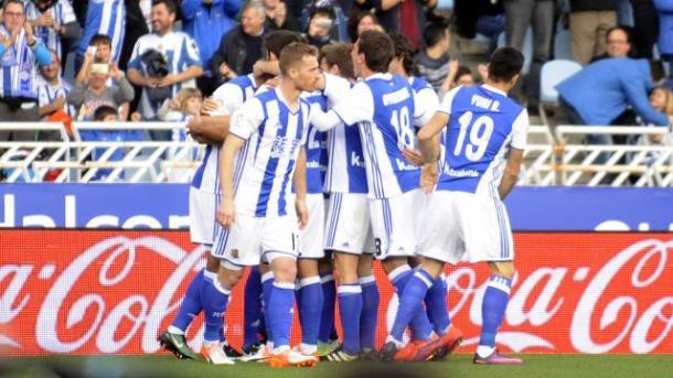 La gioia della Real Sociedad, quarta in classifica. Fonte foto: laliga.es
