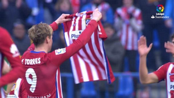Torres celebrando su gol 400 con el Atlético de Madrid. Fuente: LaLiga Santander
