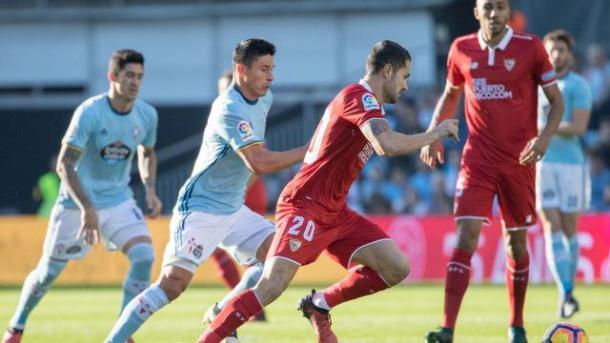 Vitolo pressato dai calciatori di Berrizo. Fonte foto: laliga.es