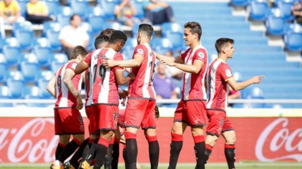 El Girona FC celebrando su primer tanto || La Liga