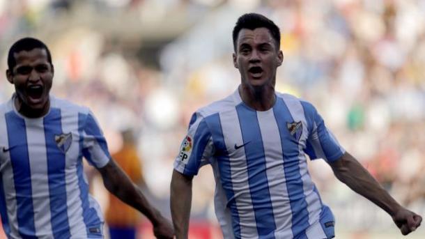 Juanpi, el mejor del Málaga, celebrando el empate | Forografía: LFP