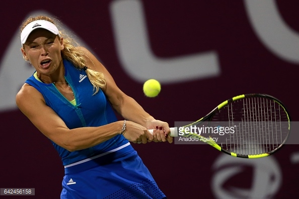Wozniacki has not dropped a set in Qatar during this rain-filled week/Photo: Anadolu Agency/Getty Images