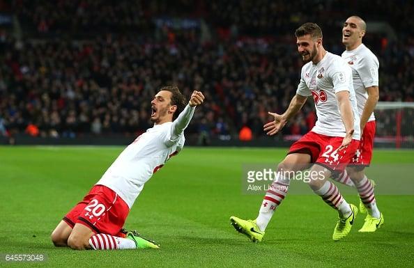 Gabbiadini celebrates drawing Southampton level at Wembley. Photo: Getty.