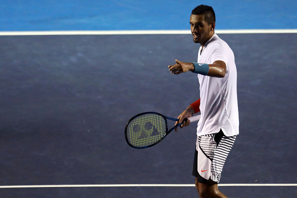 Nick Kyrgios in action during his quarterfinal match at the Mexican Open. Photo: Getty Images/Miguel Tovar/STF