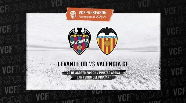 Cartel del Levante UD-Valencia CF del próximo 29 de agosto | Foto: Valencia CF