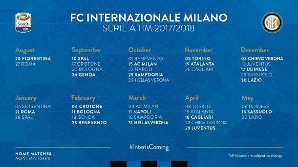 Il calendario completo dell'Inter. | Foto: Inter Twitter