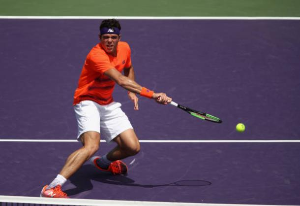 Milos Raonic in action against Viktor Troicki in the second round of the 2017 Miami Open (Getty/Julian Finney)