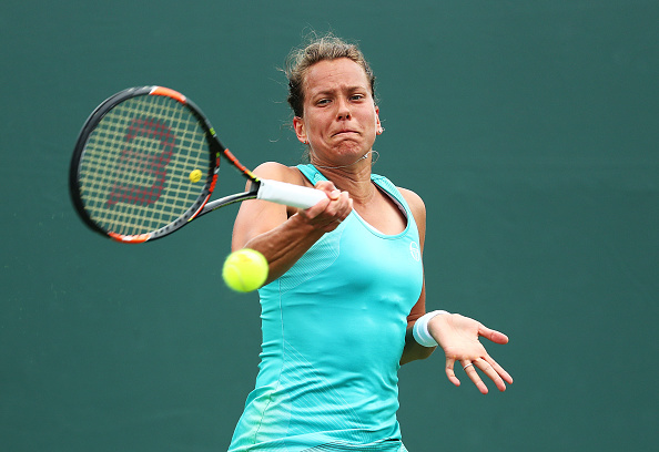 Barbora Strycova in action at the Miami Open this season. (Photo by Al Bello / Getty Images)