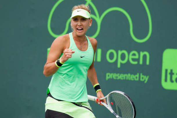 Vesnina is a two-time runner-up in Charleston. Photo credit: Icon Sportswire/Getty Images.