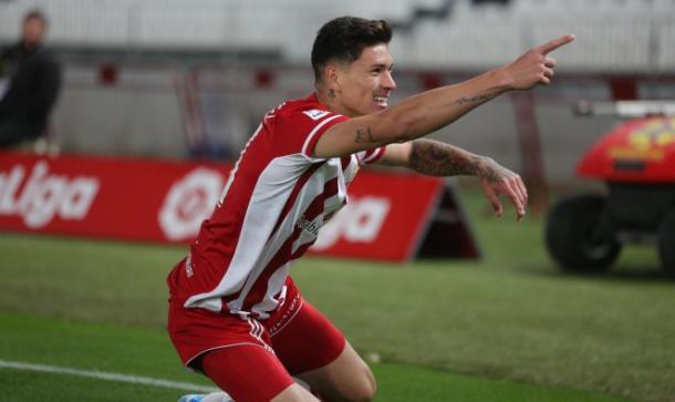 Darwin celebrando su gol | Fuente: UD Almería