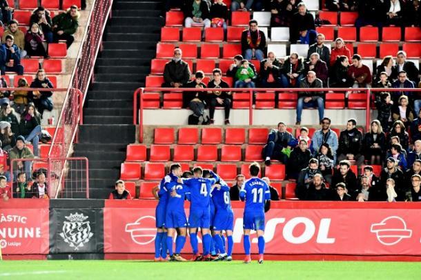Los jugadores del CF Reus celebrando el 0-1 en el último derbi | Foto: CF Reus