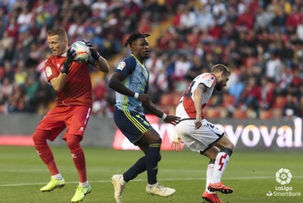 Sekou fue anulado por la defensa del Rayo | Fuente: UD Almería