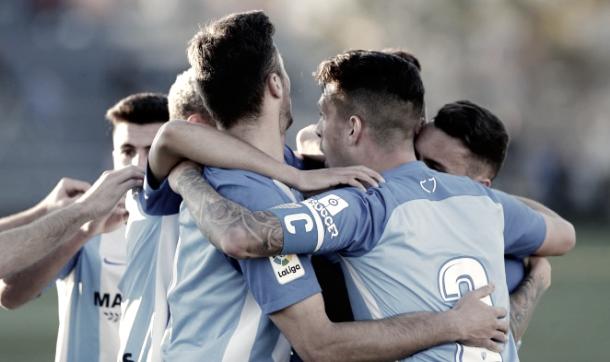 Celebración del Juvenil A en un gol   Foto del Málaga
