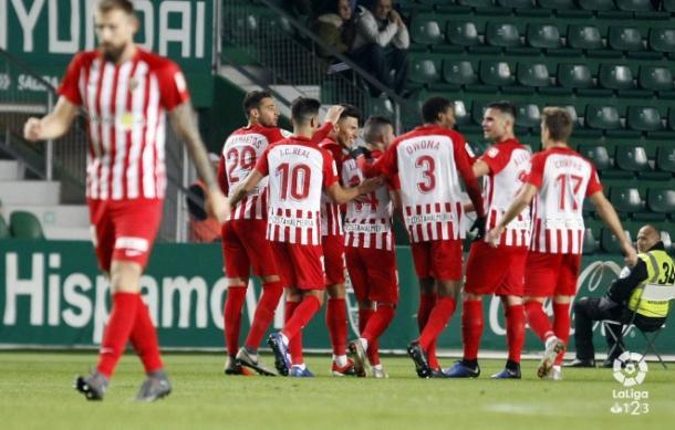 El equipo celebrando uno de los goles | Fuente: UD Almería