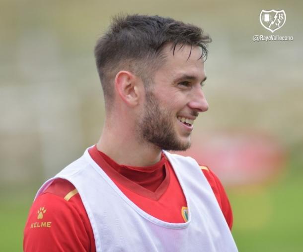 Álvaro Medrán durante un entrenamiento | Fotografía: Rayo Vallecano S.A.D.