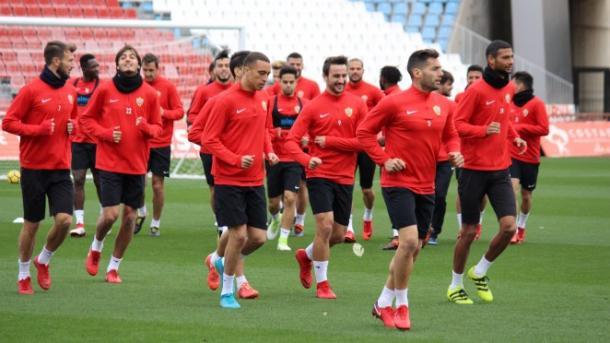 Entrenamiento del primer equipo a principios de febrero de 2018 | Fuente: UD Almería