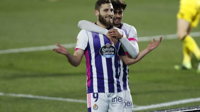 Weissman celebra un gol en el partido de ida. Fuente: Valladolid C.F.