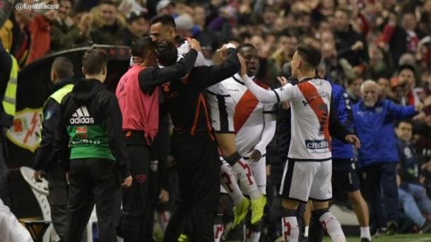 El Rayo Vallecano celebra un gol conseguido esta temporada | Fotografía: Rayo Vallecano