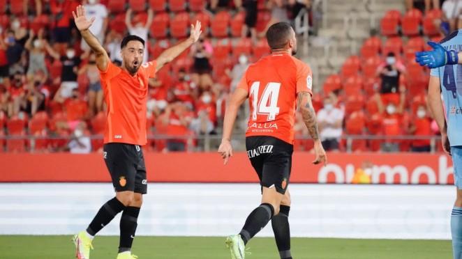 Jaume Costa y Dani Rodríguez celebrando un gol/ Fuente: RCD Mallorca