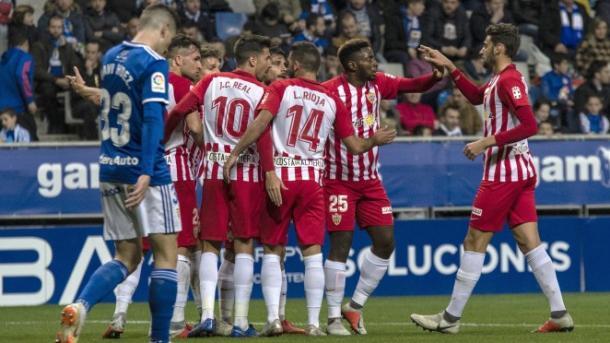 Celebración de un gol en el Carlos Tartiere | Fuente: La Liga