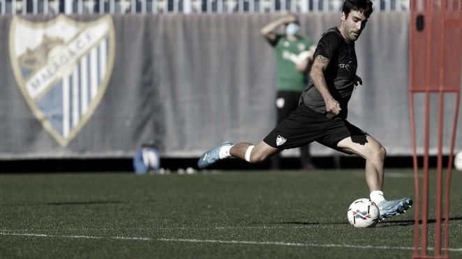 Alberto Escassi entrenando en el Anexo. Foto: Málaga CF.