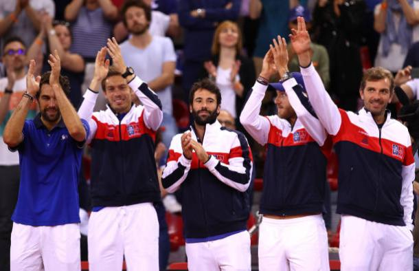 The French team celebrate after beating Great Britain in their Davis Cup quarterfinal in April (Getty/Jean Catuffe)