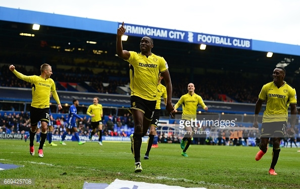 Burton's players celebrate scoring their second goal at Birmingham City. (picture: Getty Images / Harry Trump)