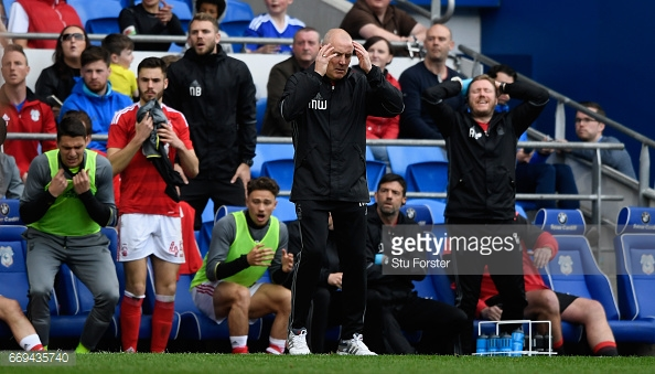 Mark Warburton despairs as Vellios hits the bar against Cardiff City. (picture: Getty Images / Stu Forster)