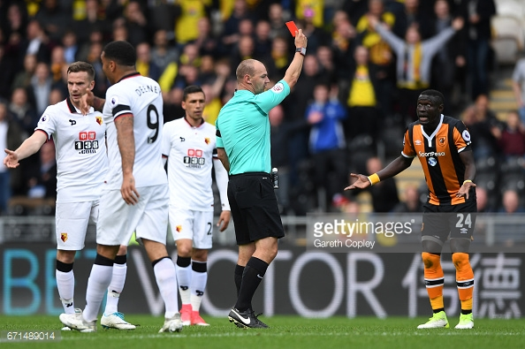 Niasse was stunned to receive his marching orders (photo: Getty Images)