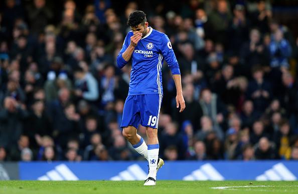 Diego Costa não treinou com Chelsea na pré-temporada e nem durante agosto (Foto: Catherine Ivill / AMA via Getty Images)