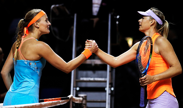 Mladenovic (L) gets her first win over Sharapova | Photo: Adam Pretty/Bongarts/Getty Images