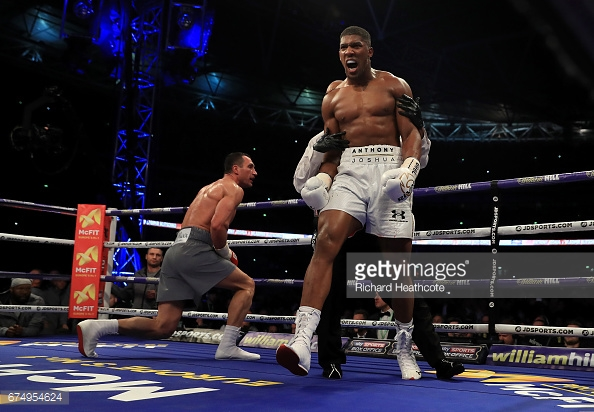 Klitschko fighting Joshua earlier this year. (Photo: Richard Heathcote/Getty)