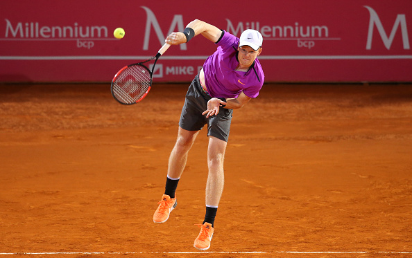 Kyle Edmund in action during the match between Kyle Edmund from Great Britain/Joao Sousa from Portugal and Nicolas Almagro from Spain/Guillermo Gracia-Lopez from Spain for Millennium Estoril Open at Clube de Tenis do Estoril on May 1, 2017 in Estoril, Portugal. (Photo by Gualter Fatia/Getty Images)
