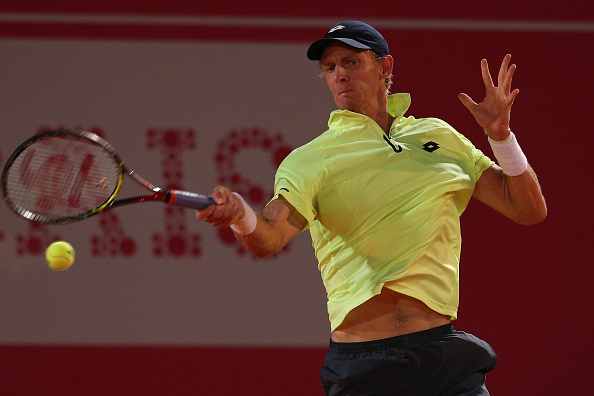 Kevin Anderson of South Africa in action during the match between Joao Domingues of Portugal and Kevin Anderson of South Africa for Millennium Estoril Open at Clube de Tenis do Estoril on May 3, 2017 in Estoril, Portugal. (Photo by Carlos Rodrigues/Getty Images)