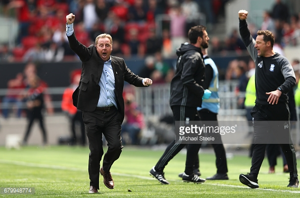 Harry Redknapp celebrates keeping Birmingham up on the final day. (picture: Getty Images / Michael Steele)