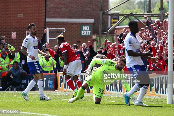 Britt Assombalonga scored twice against Ipswich on the final day. (picture: Getty Images / Robbie Jay Barratt - AMA)