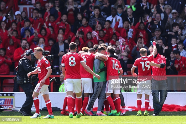 Forest players celebrate scoring against Ipswich in crucial clash. (picture: Getty Images / Robbie Jay Barratt - AMA)