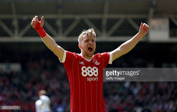 Jamie Ward celebrates Forest securing survival on the final day. (picture: Getty Images)