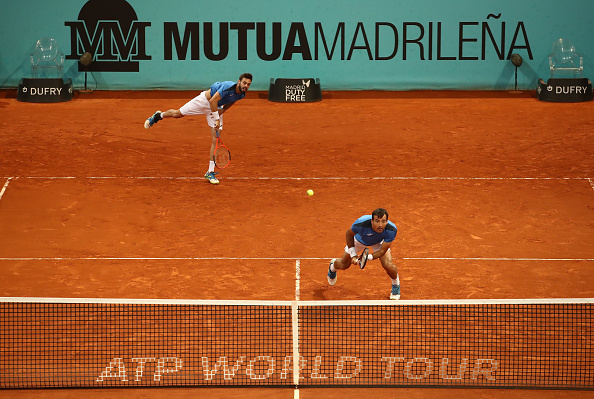 Ivan Dodig and Marcel Granollers in action at the Madrid Masters (Photo: Julian Finney/Getty Images)