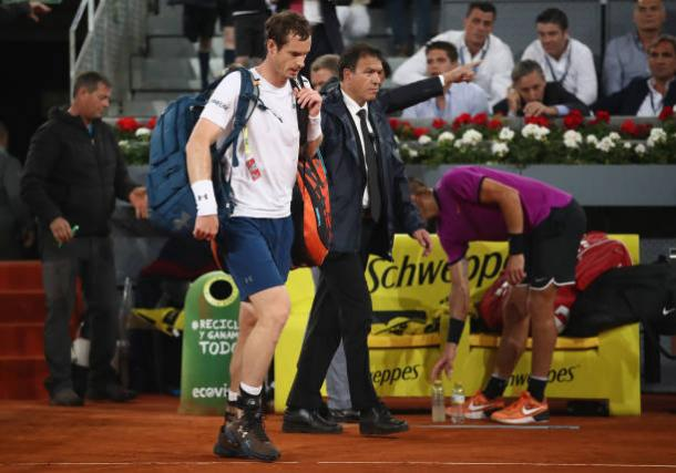Andy Murray walks off court after his third round loss to Borna Coric in Madrid (Getty/Julian Finney)