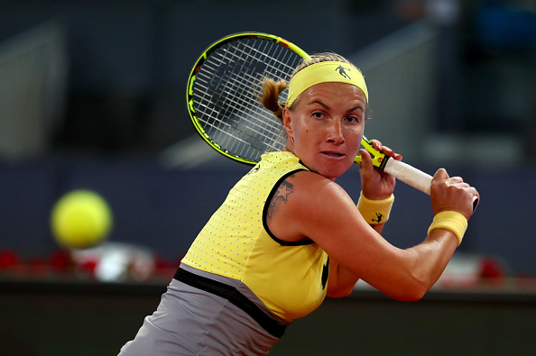 Svetlana Kuznetsova in action during her quarterfinal match against Eugenie Bouchard at the Mutua Madrid Open. (Photo: Getty Images/ Clive Rose)