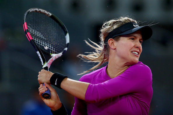Eugenie Bouchard in action during her quarterfinal match against Svetlana Kuznetsova at the Mutua Madrid Open. (Photo: Getty Images/ Clive Rose)