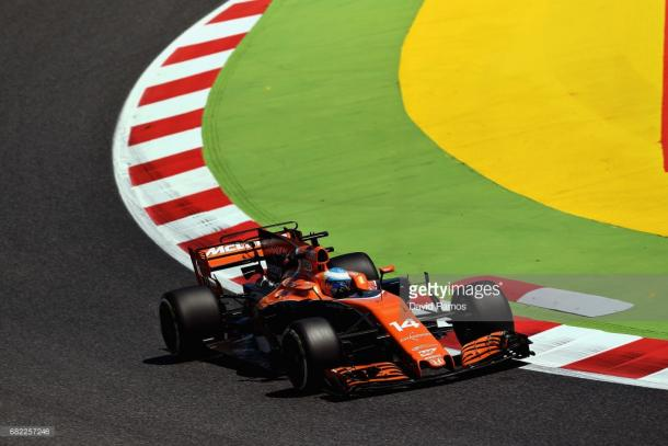 A rare sight - Alonso on track.   Photo: Getty Images/David Flamos